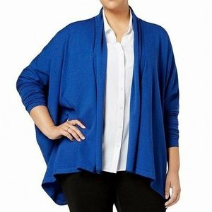 Anne Klein Womens Plus Dolman Sleeves Draped Cardi